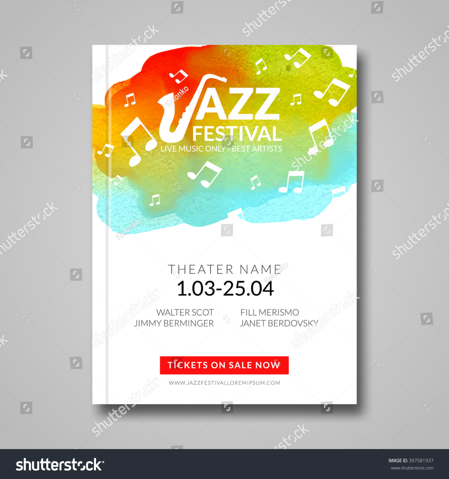 1 color poster design - 1 Color Poster Design Vector Musical Poster Design Watercolor Stain Background Jazz Rock Style Billboard