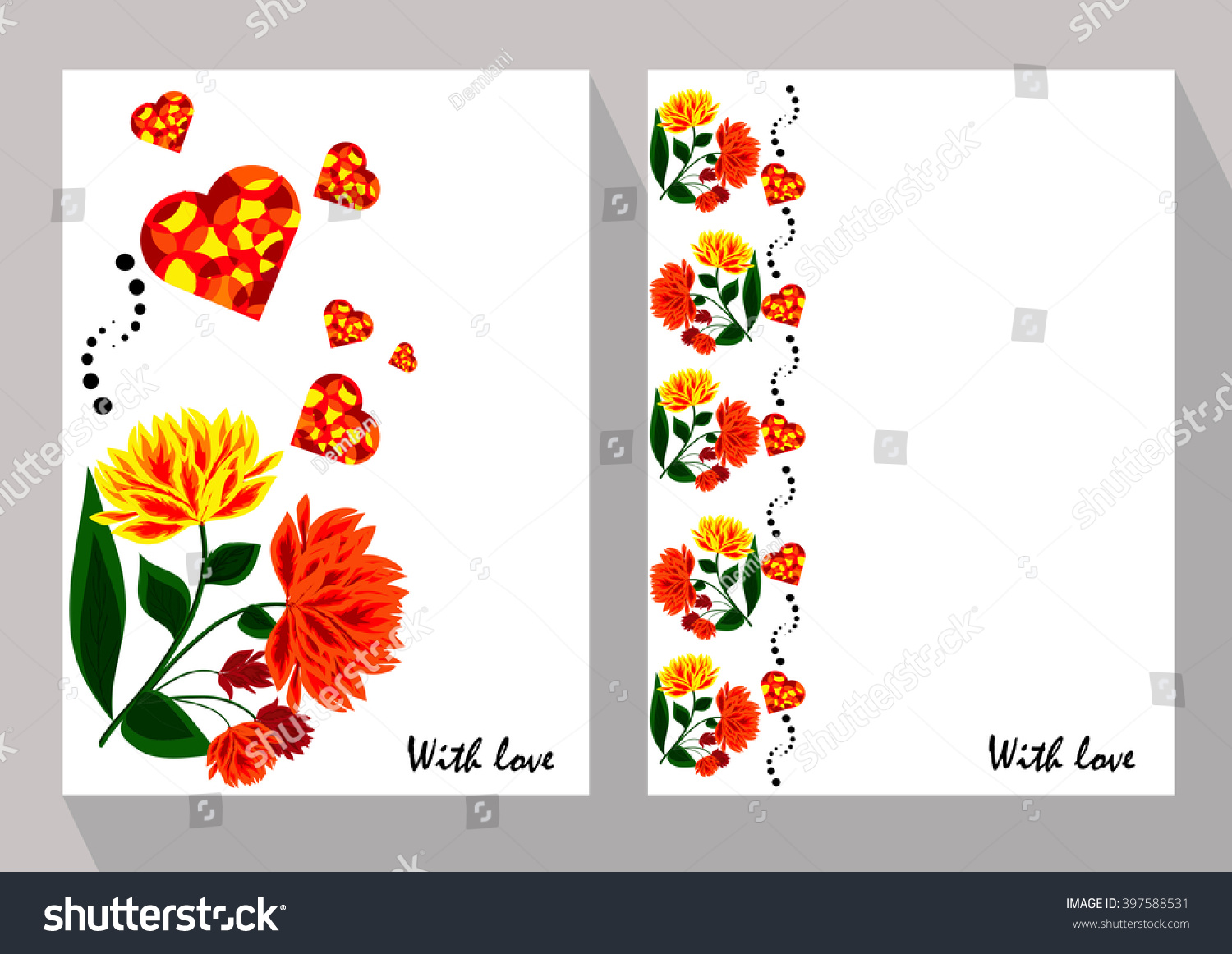 Greeting cards abstract orange flowers ethnic stock vector greeting cards with abstract orange flowers in ethnic style for declarations of love a gift kristyandbryce Image collections
