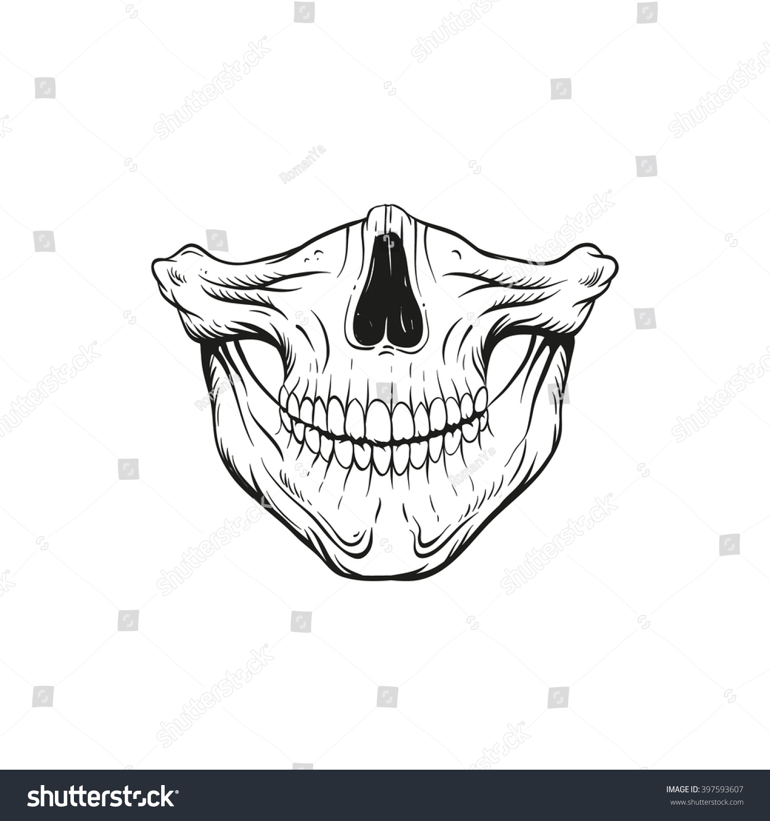 skull jaw sketch tattoo design hand stock vector 397593607 shutterstock. Black Bedroom Furniture Sets. Home Design Ideas