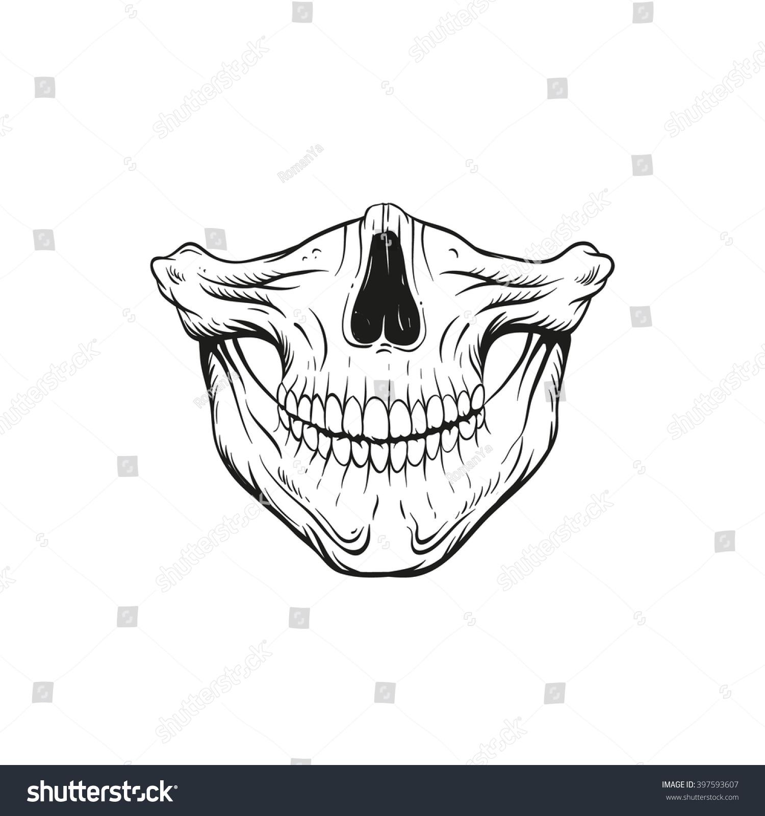 Skull Jaw Tattoo: Skull Jaw Sketch Tattoo Design Hand Stock Vector 397593607