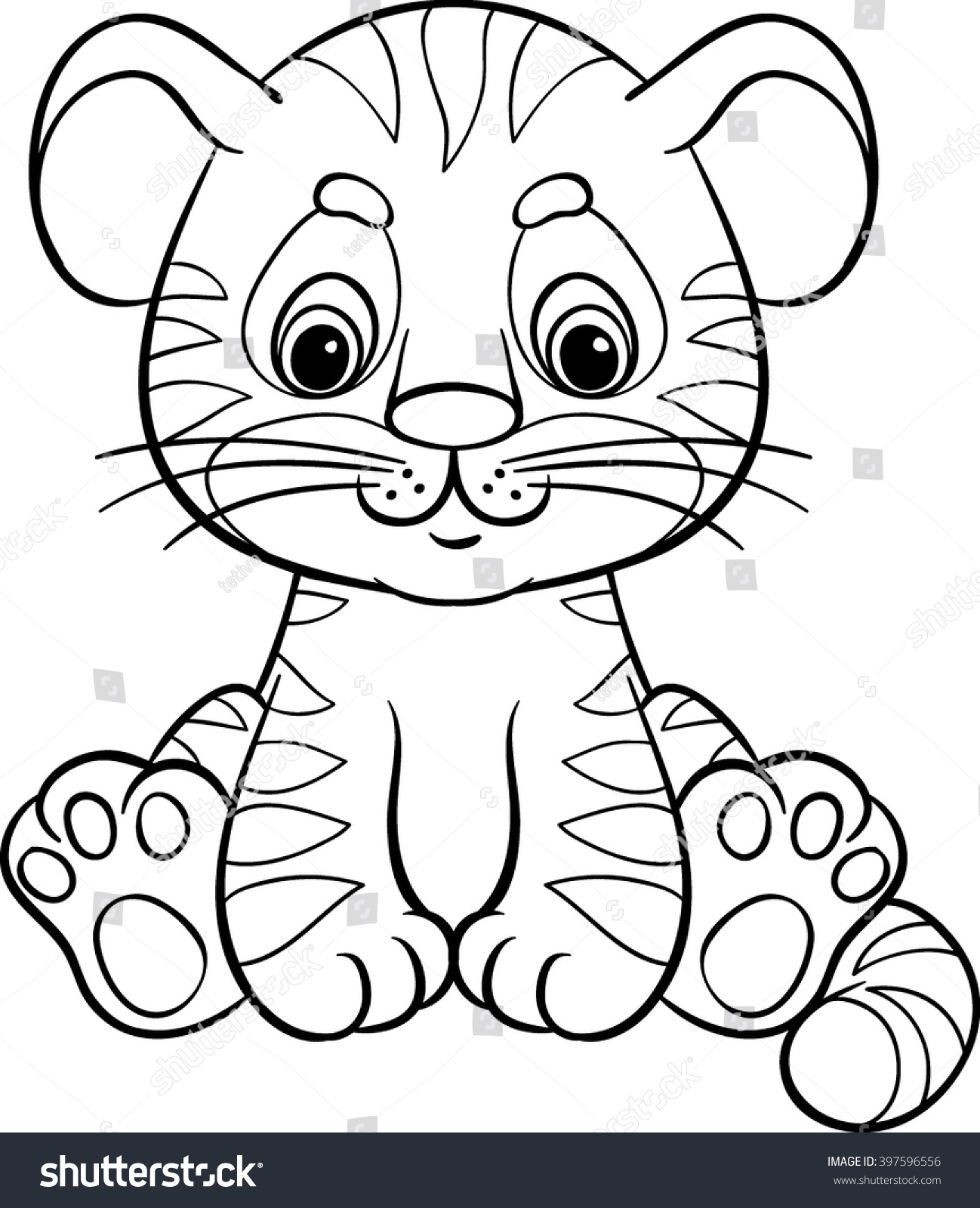 Cartoon Tiger Cartoon Vector Illustration Coloring Stock Vector