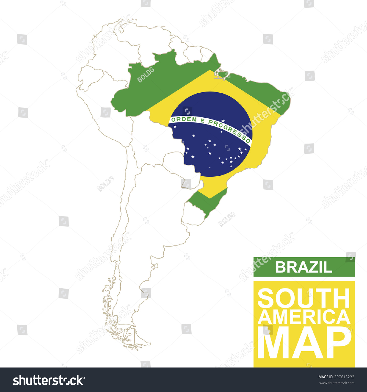 South America Contoured Map Highlighted Brazil Stock Vector - South america map and flags