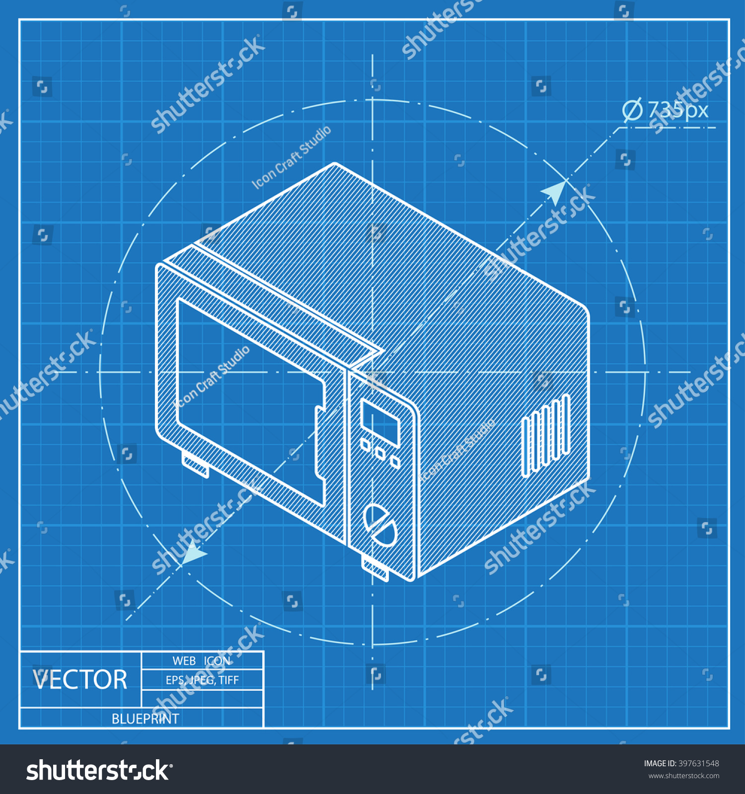 Microwave Oven Isometric 3 D Blueprint Icon Stock Vector (Royalty ...
