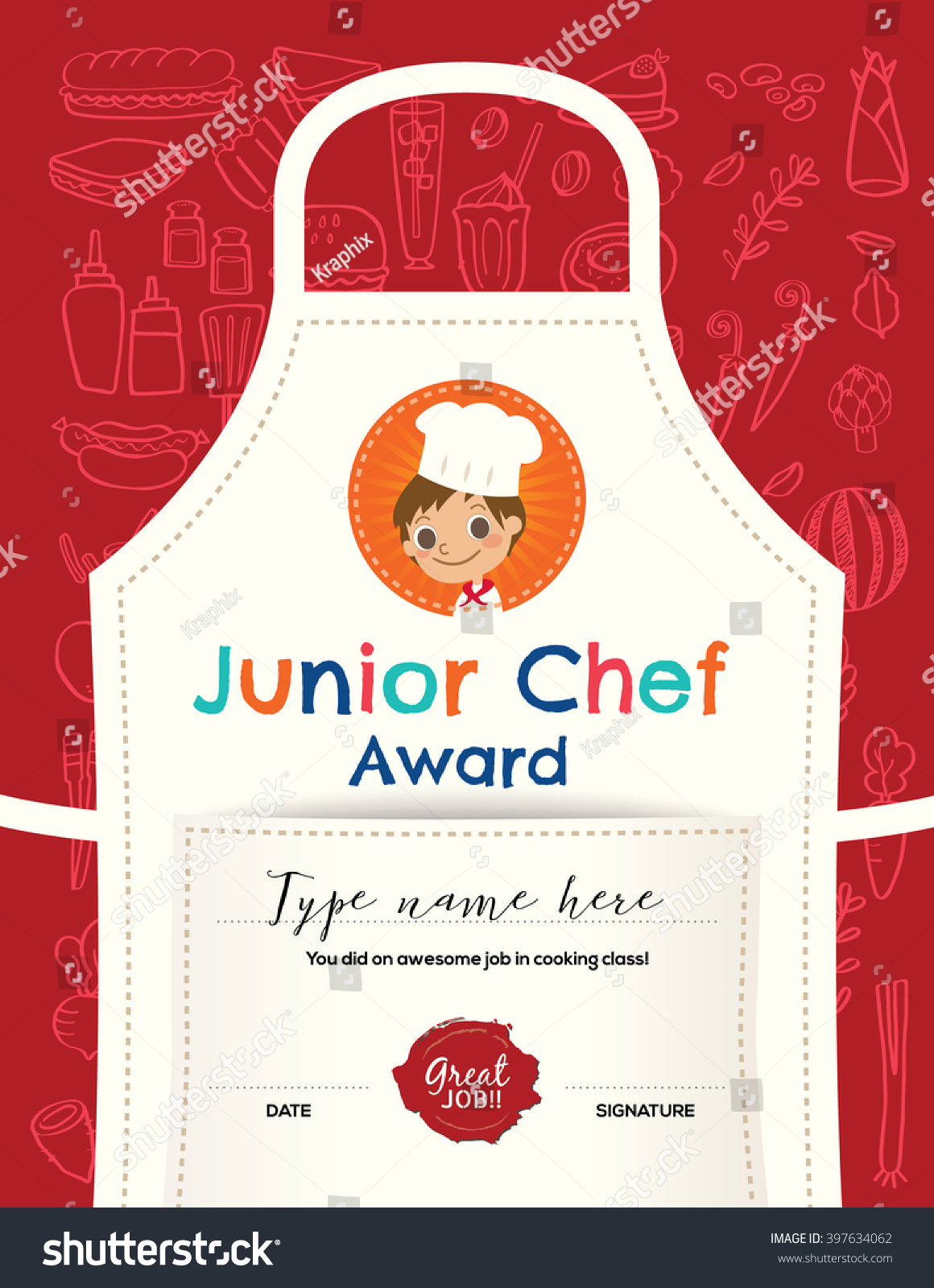 Kids cooking class certificate design template stock vector kids cooking class certificate design template with junior chef cartoon illustration on kitchen apron background yelopaper