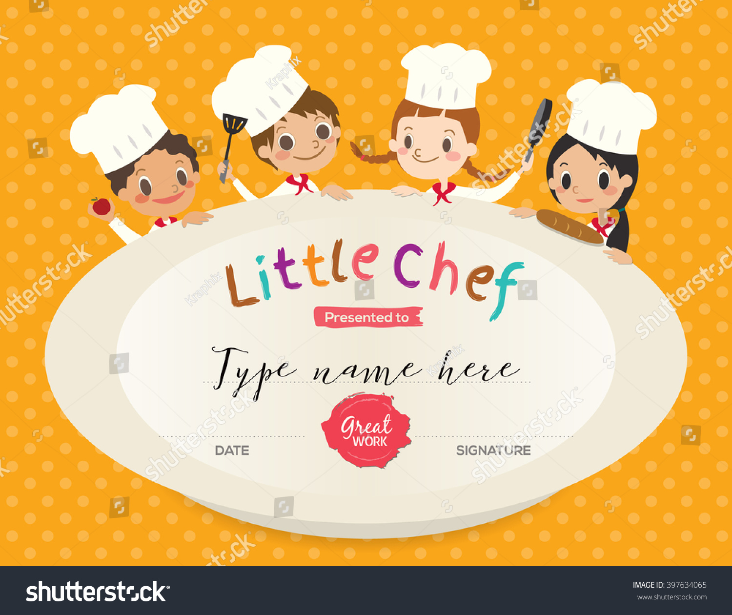 Kids cooking class certificate design template stock vector kids cooking class certificate design template with little chef cartoon illustration yelopaper Images