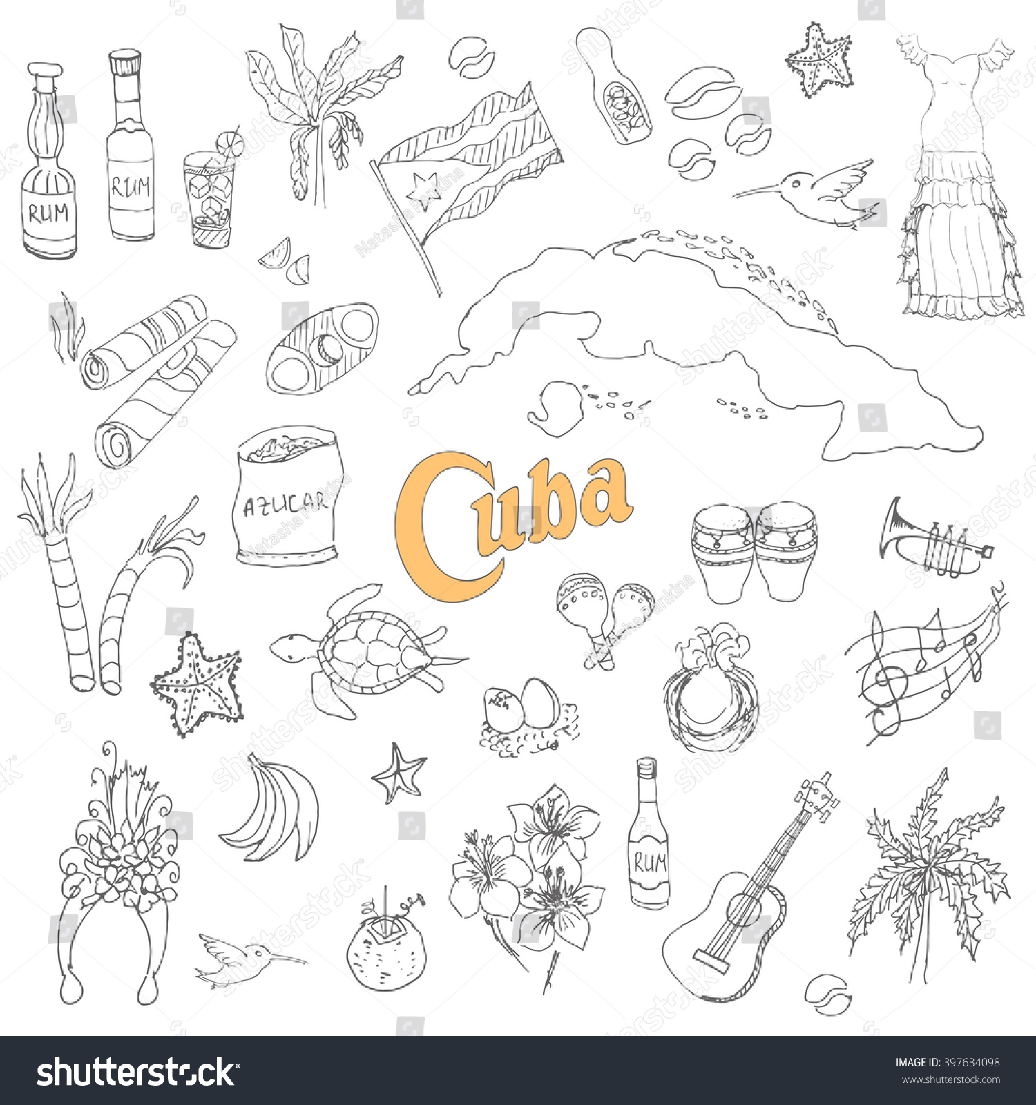 set hand drawn cuba icons cuban stock vector 397634098 shutterstock