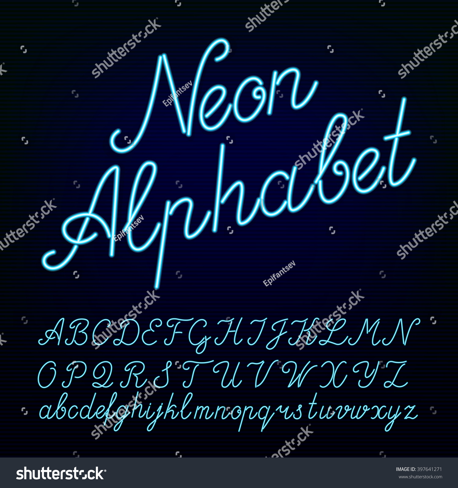 Neon Tube Hand Drawn Alphabet Font Stock Vector 397641271