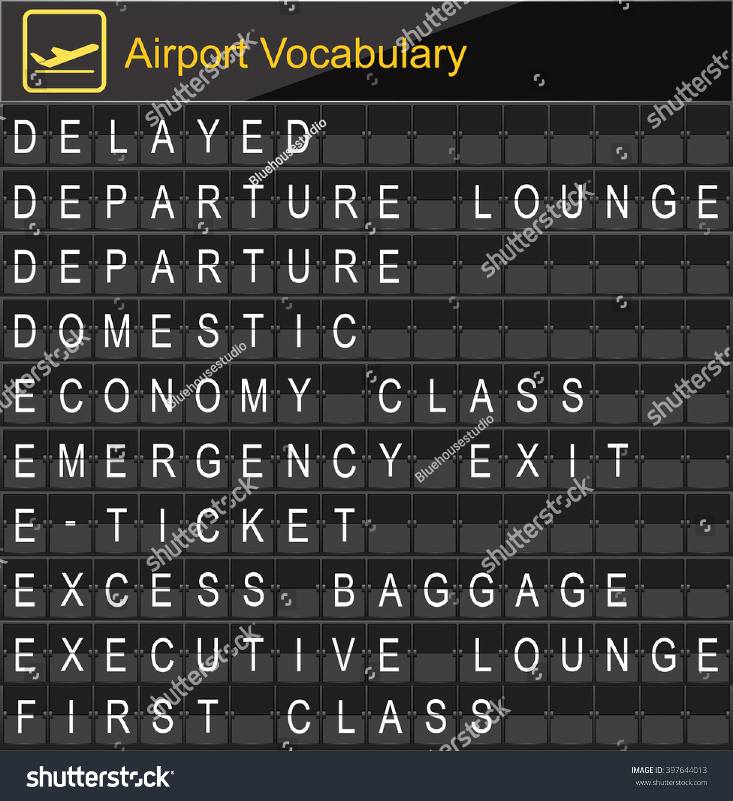 Airport vocabulary on airport boarding stock vector 397644013 airport vocabulary on airport boarding biocorpaavc Images