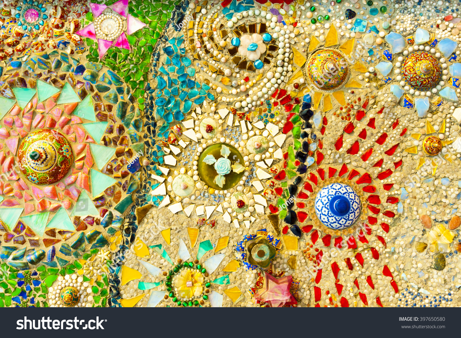 Art Mosaic Glass On Wall Stock Photo (Royalty Free) 397650580 ...
