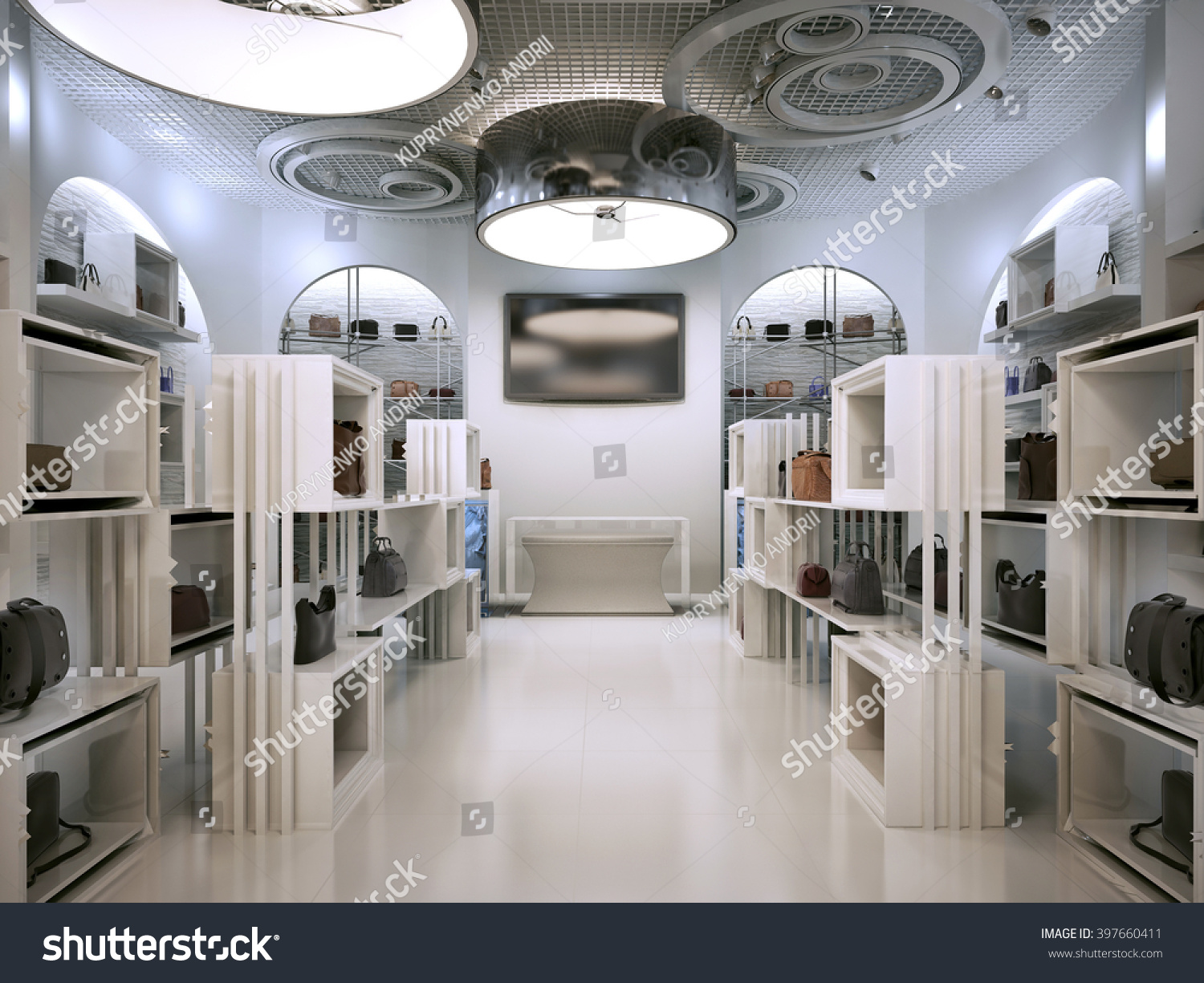Luxury store interior design art deco stockillustration