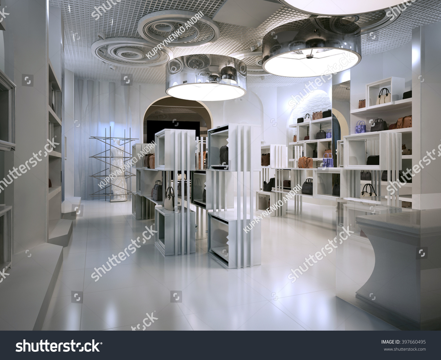 Luxury store interior design art deco style with hints of contemporary room white boutique with