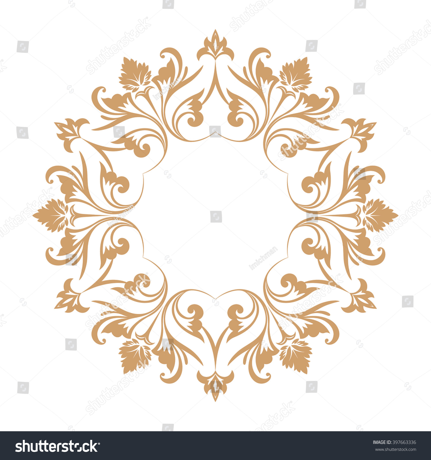 circular baroque pattern round floral ornament vector