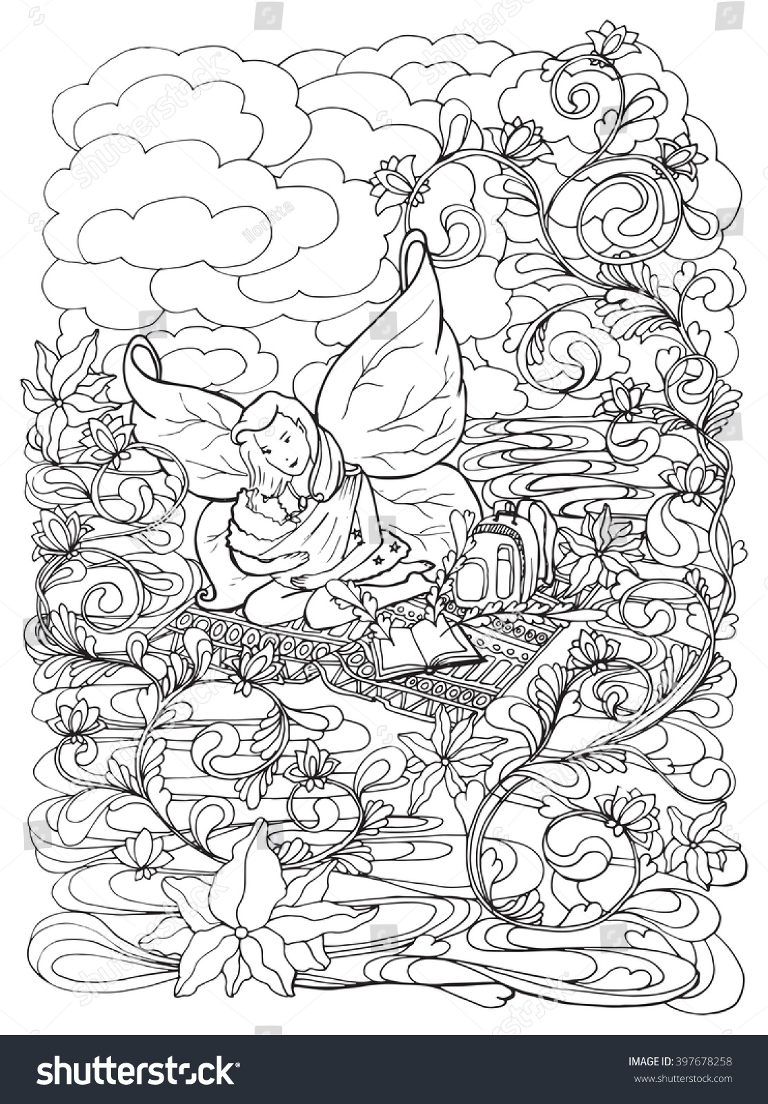 Adult Coloring Book Page Mother Breast Stock Vector 397678258 ...