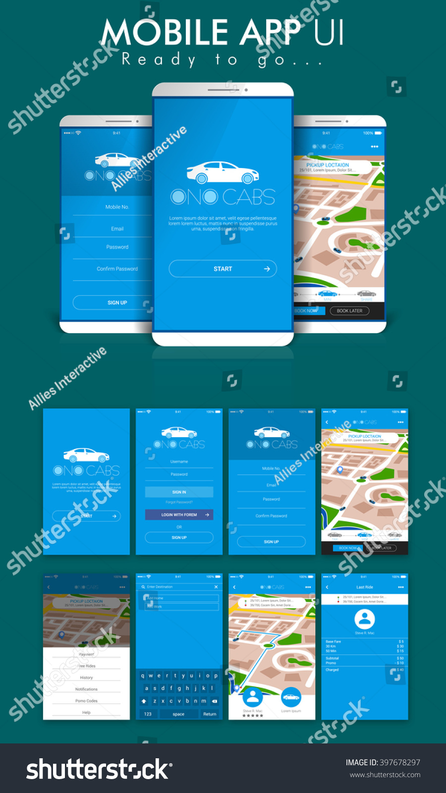 Online Cab Mobile App Material Design Ui Ux And Gui Screens Including Sign Up