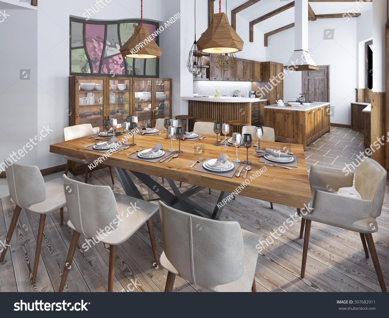 Royalty Free Stock Illustration of Modern Kitchen Dining Room Loft ...
