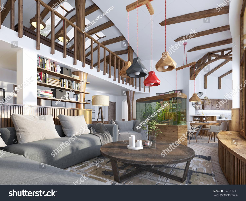 Modern Interieur Living : Interior livingroom loft style maisonette modern stockillustration