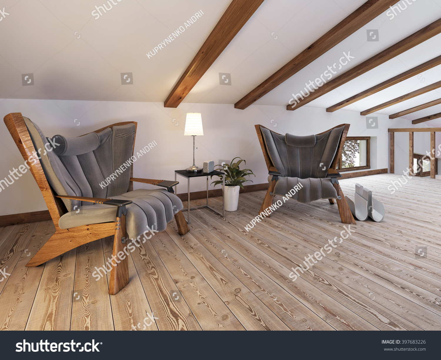 The Attic Floor With A Seating Area With Designer Chairs And A Low Table  Lamp In