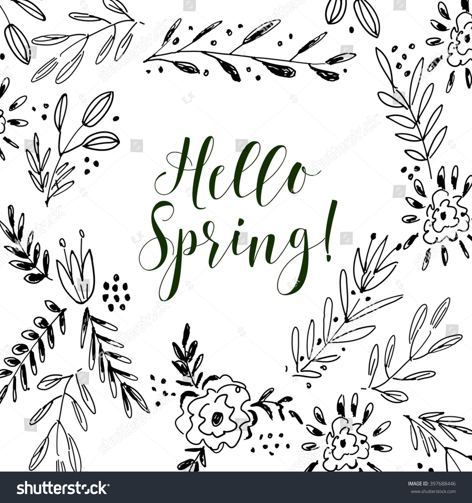 Hello Spring Card, Lettering Text.Summer Pattern. Vector Floral Set.  Graphic Collection