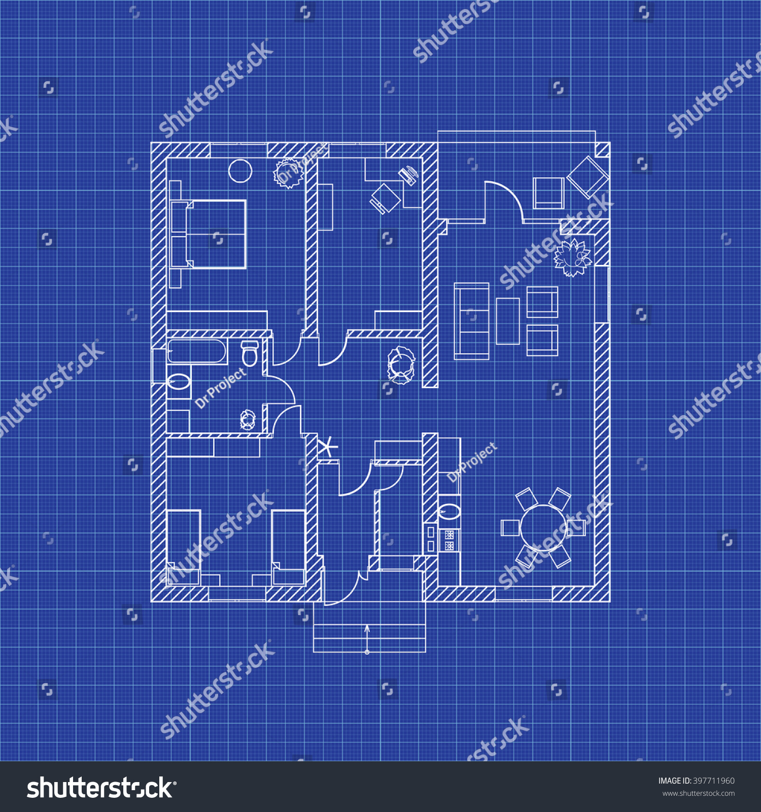 floor plan blueprint modern house floor plan modern partment on graph stock vector 397711960