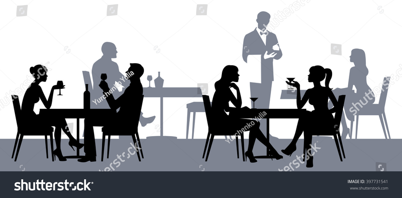 Silhouettes People Sitting Tables Restaurant Cafe Stock Vektorgrafik
