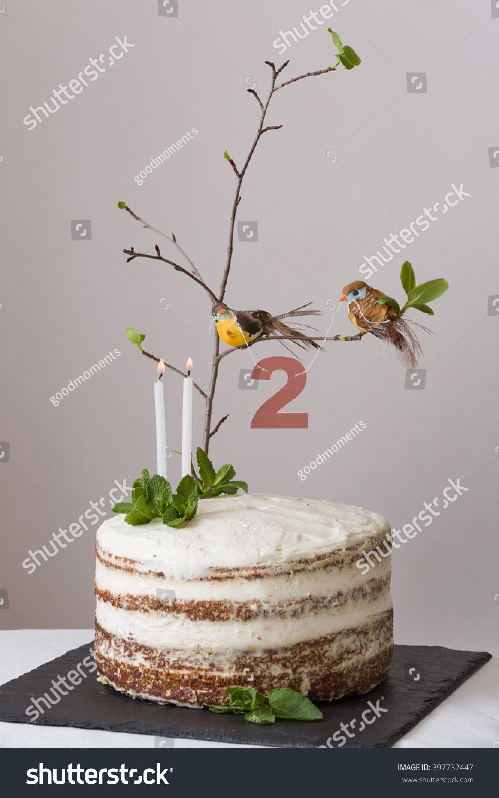 Delicious Birthday Cake Branch Tree Birds Stock Photo (100% Legal ...