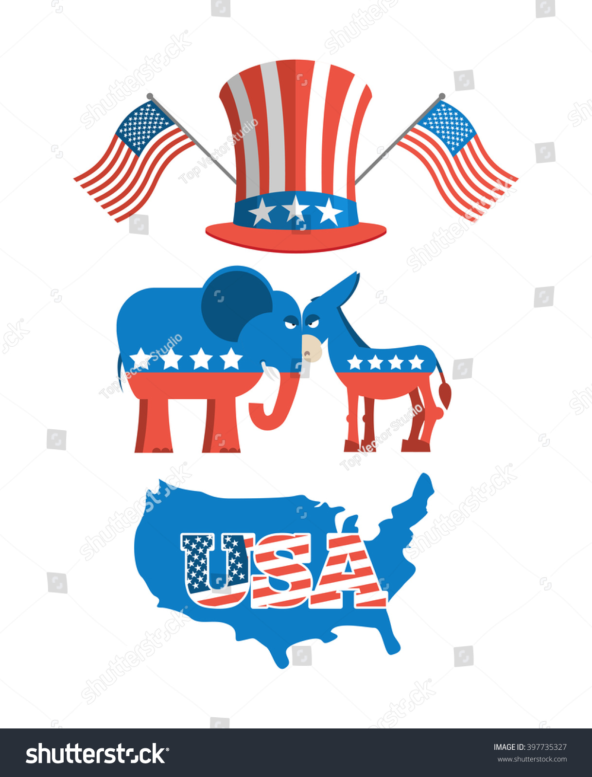Set Elections America Uncle Sam Hat Stock Vector - Map of usa political party