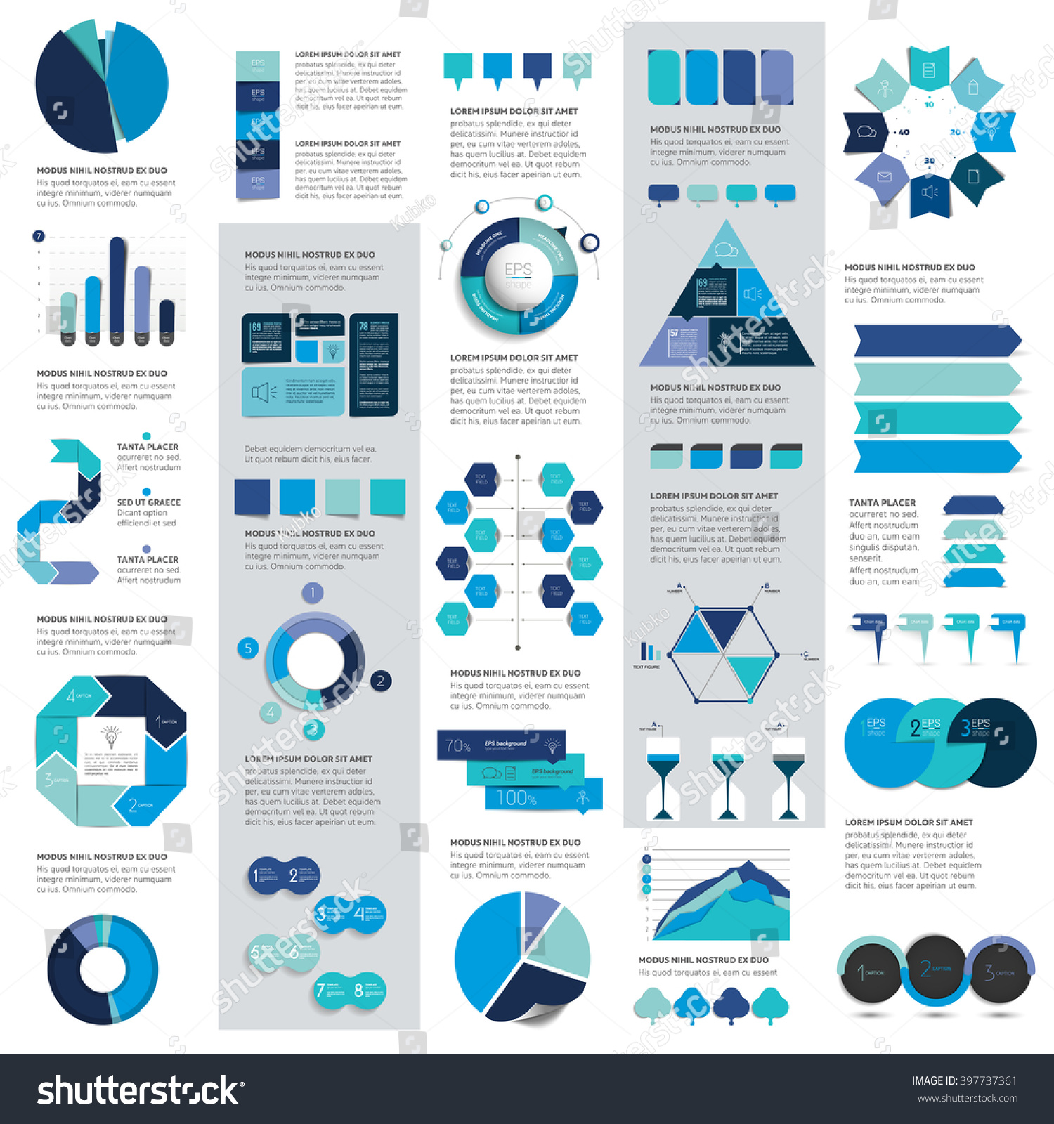 Mega set of infographics elements charts graphs circle charts diagrams speech bubbles Flat and 3D design Vector