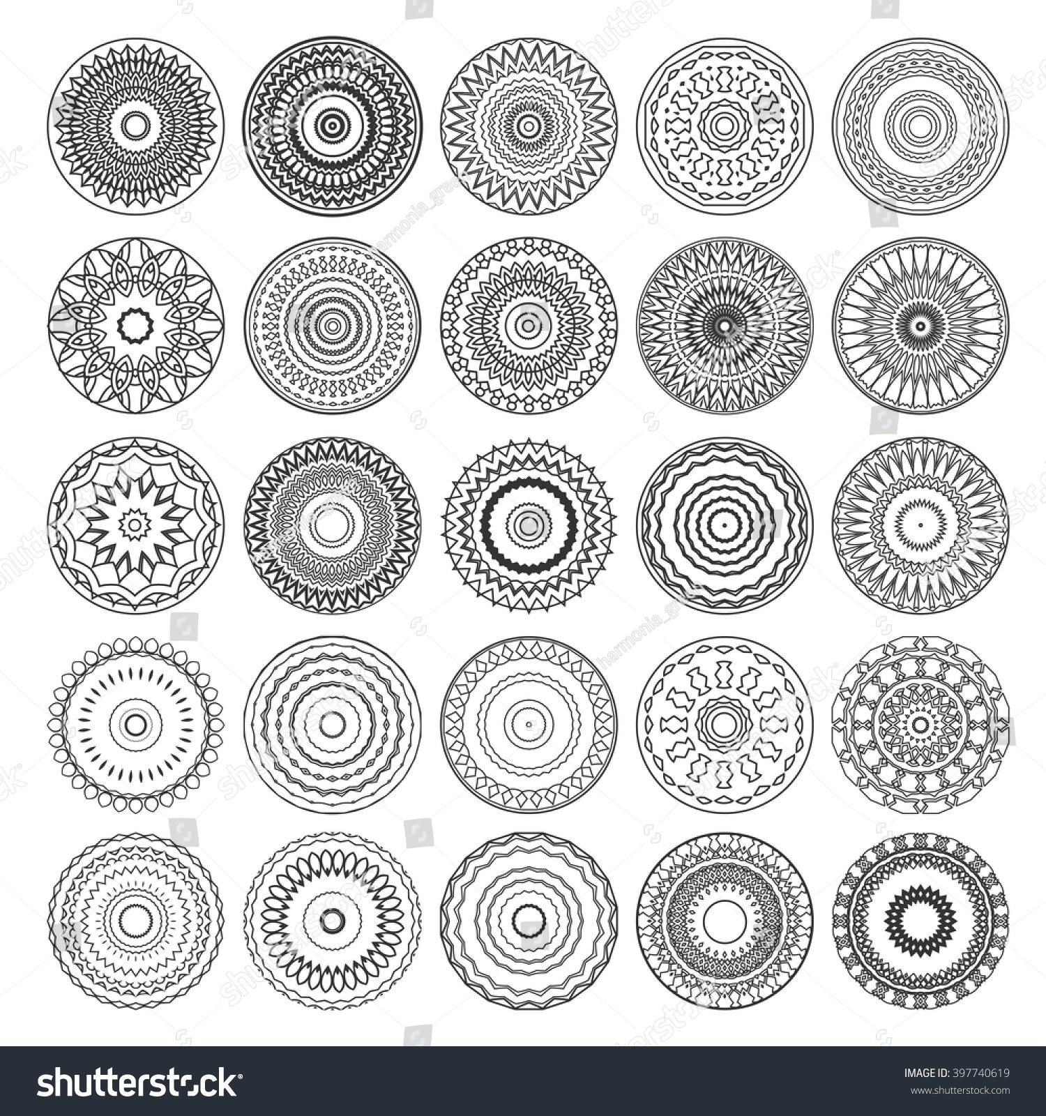 Set Circle Ornaments Mandalas Vector Mandala Stock Vector (Royalty ...