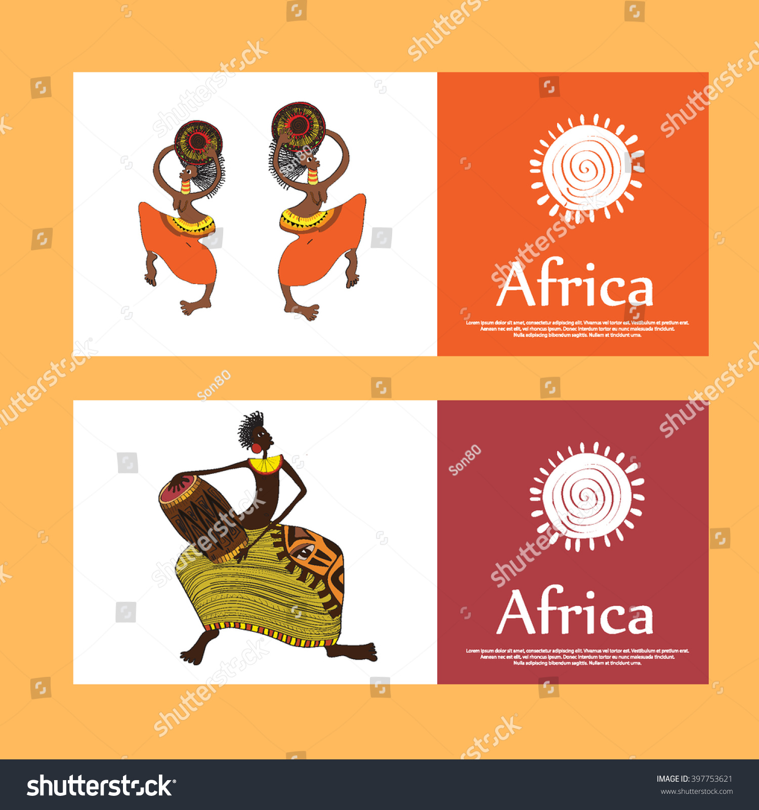 Set Cards African Natives Cards Text Stock Photo (Photo, Vector ...