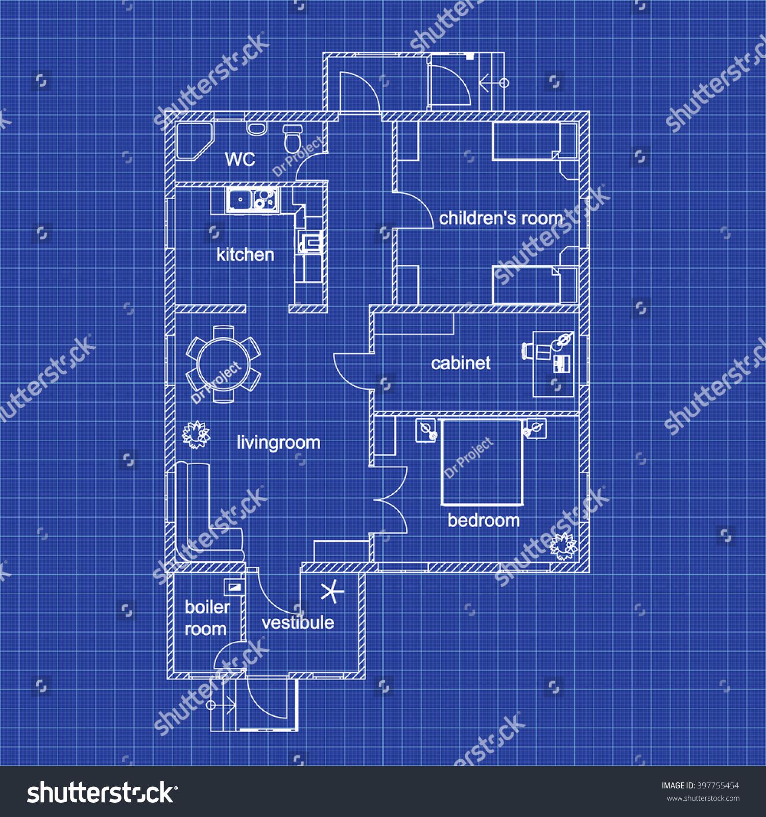 Blueprint floor plan modern apartment on stock vector for Blueprint architects