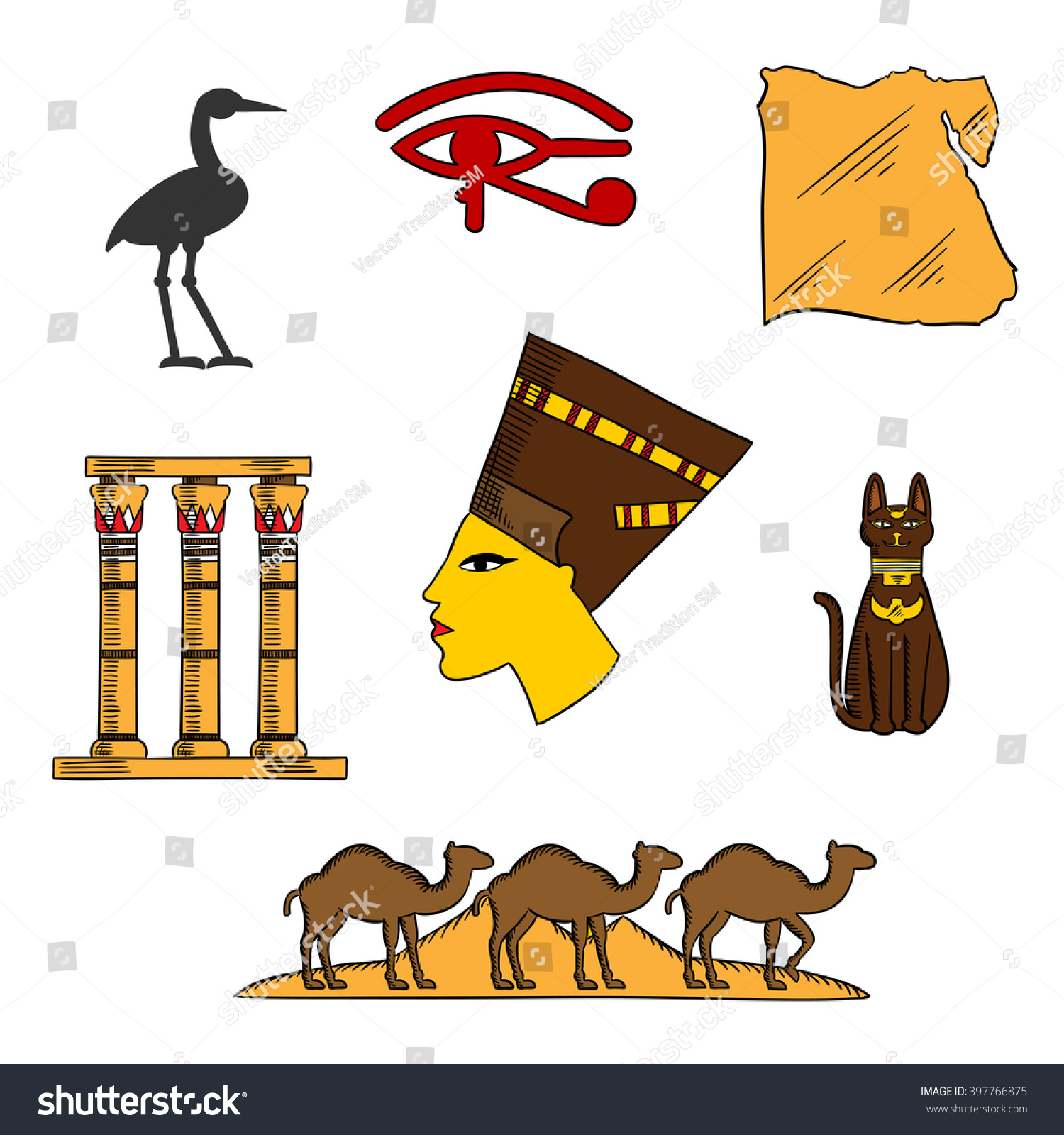 Ancient Egyptian Queen Nefertiti Map Egypt Stock Vector