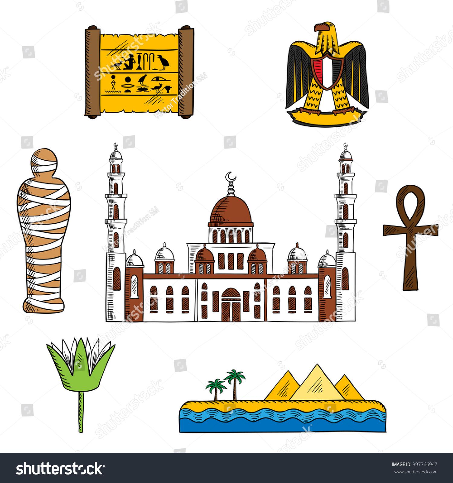 Ancient Modern Egypt Symbols Travel Design Stock Vector Royalty