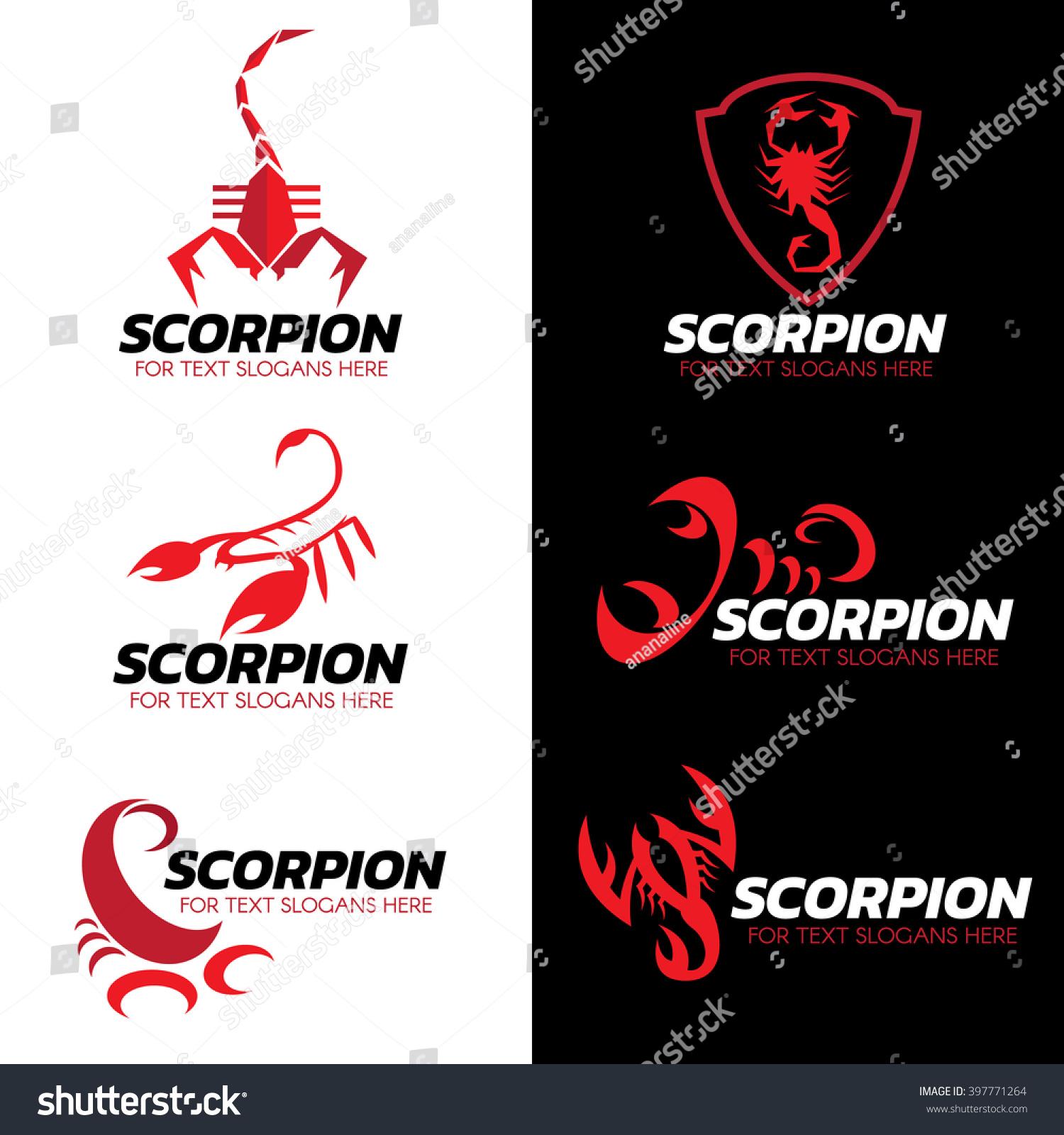 red scorpion logo vector set art stock vector 397771264