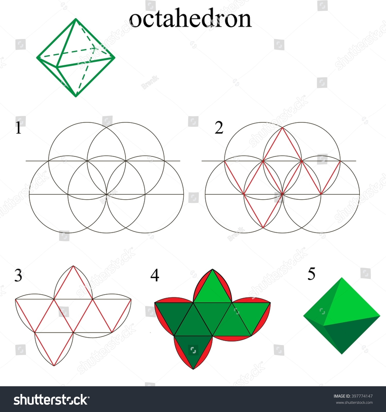 Constructing An Octahedron Using Compass And Straightedge A Polyhedron With Eight Faces Convex