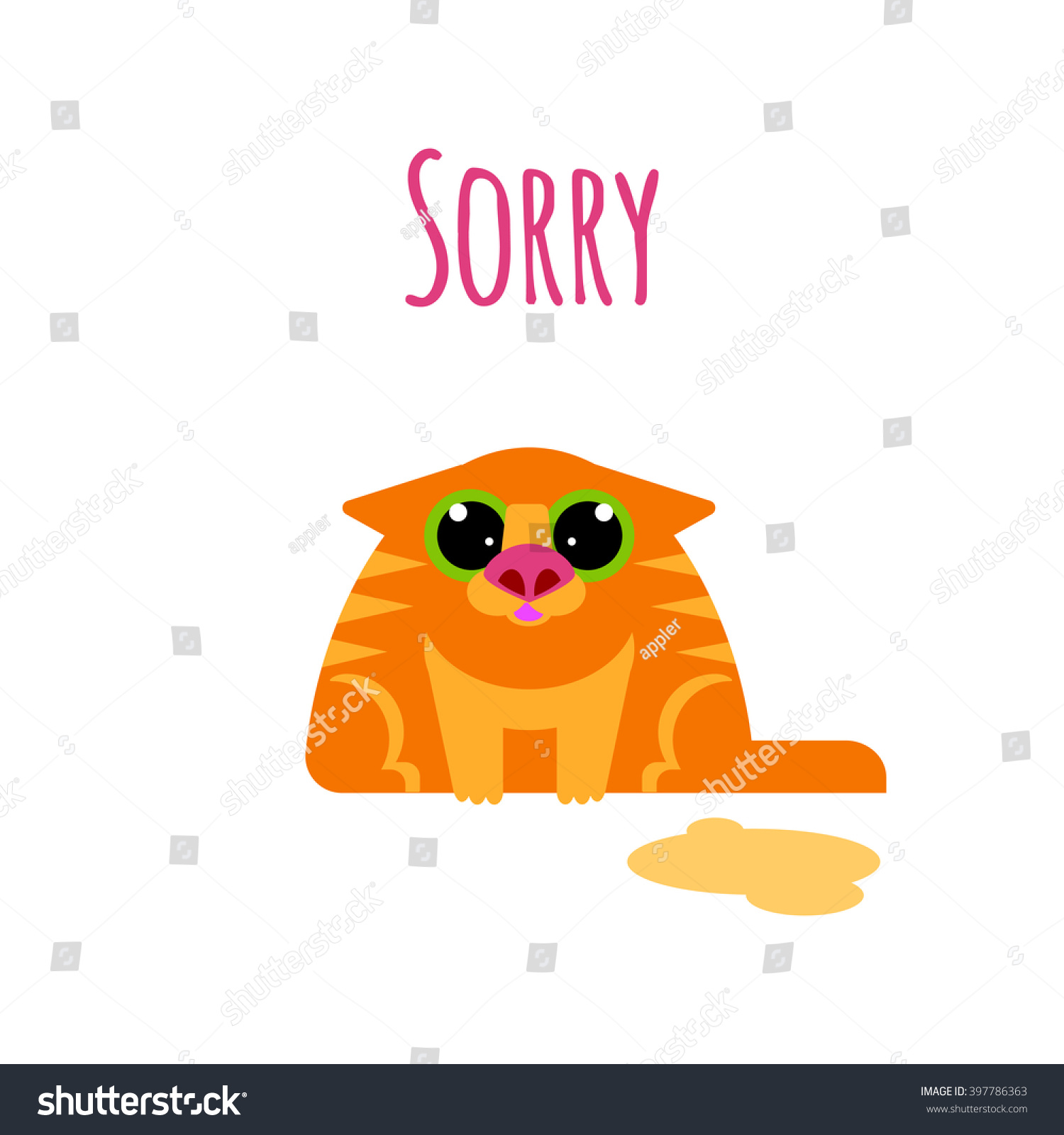 Sorry: Sorry Card Cat Isolated On White Stock Vector 397786363