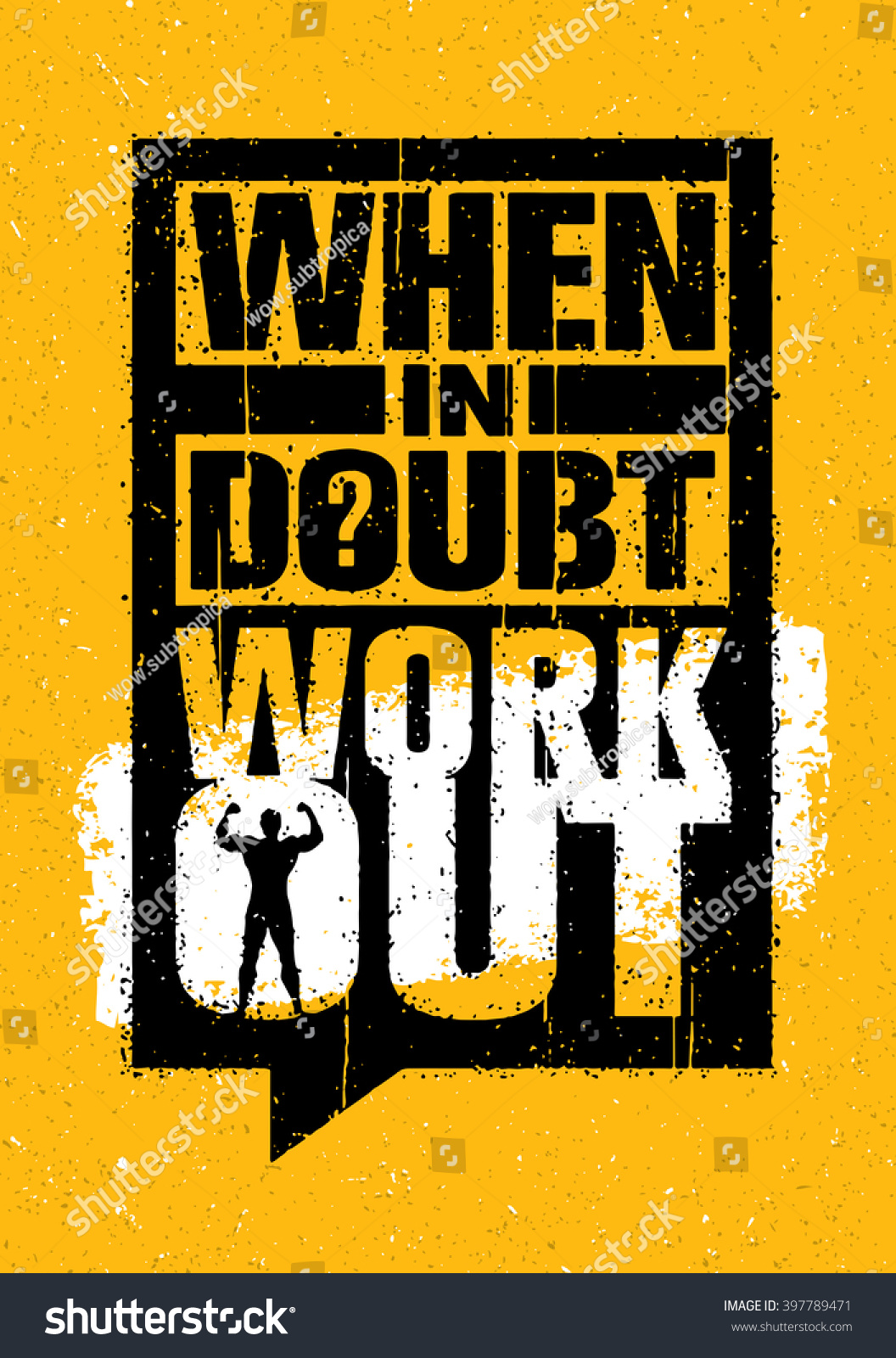 When doubt workout sport gym typography stock vector