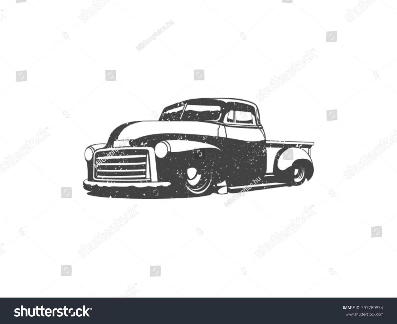 Old School One Color Pick Truck Vector de stock (libre de regalías ...