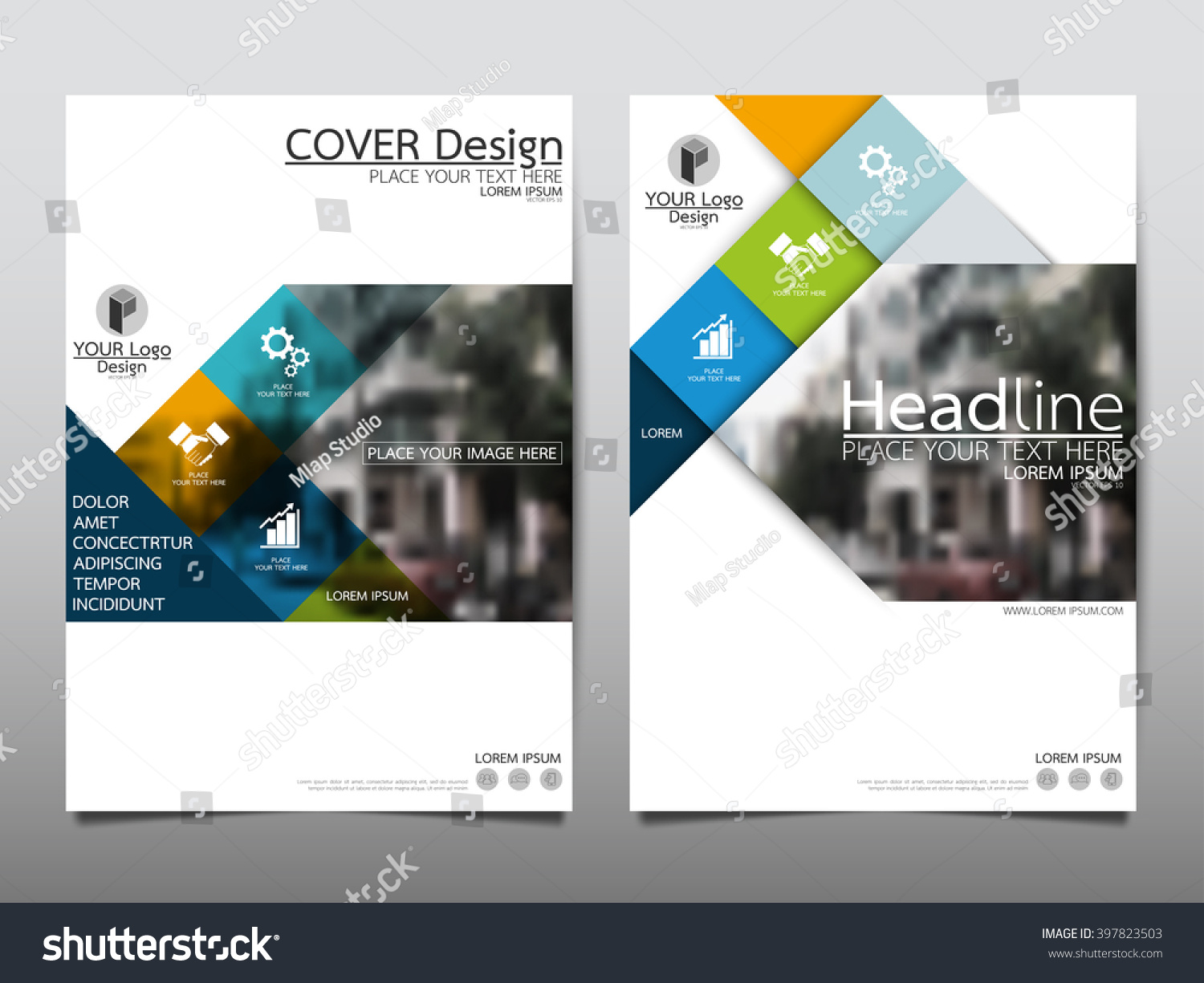 foursquare templates - blue square annual report brochure flyer stock vector