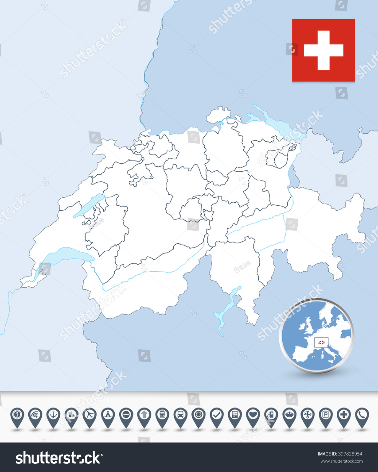 switzerland outline map with map markers all elements are separated in editable layers clearly labeled