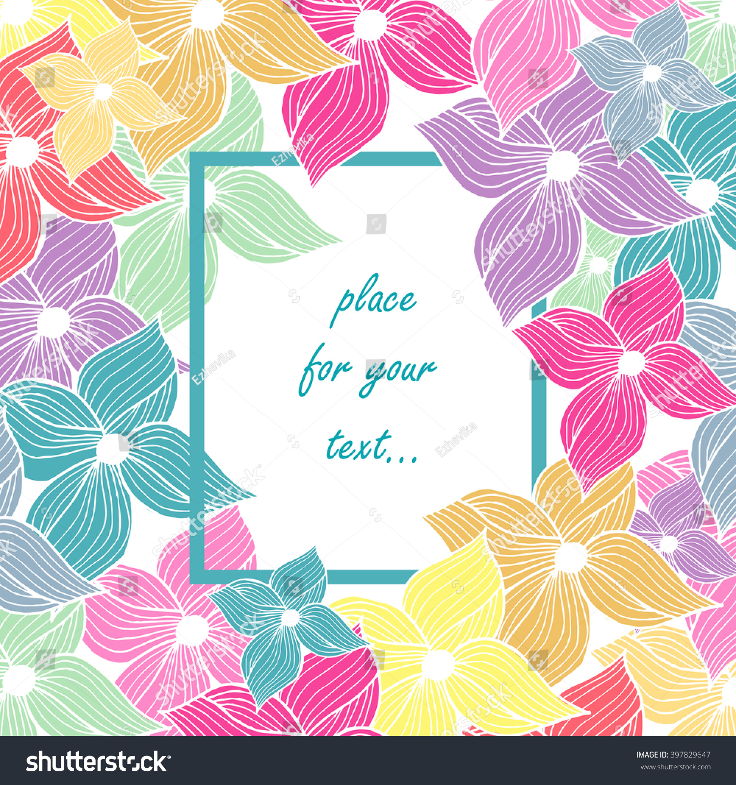 Spring card beautiful colored flowers rectangular stock vector spring card beautiful colored flowers with a rectangular frame space for your text stopboris Images