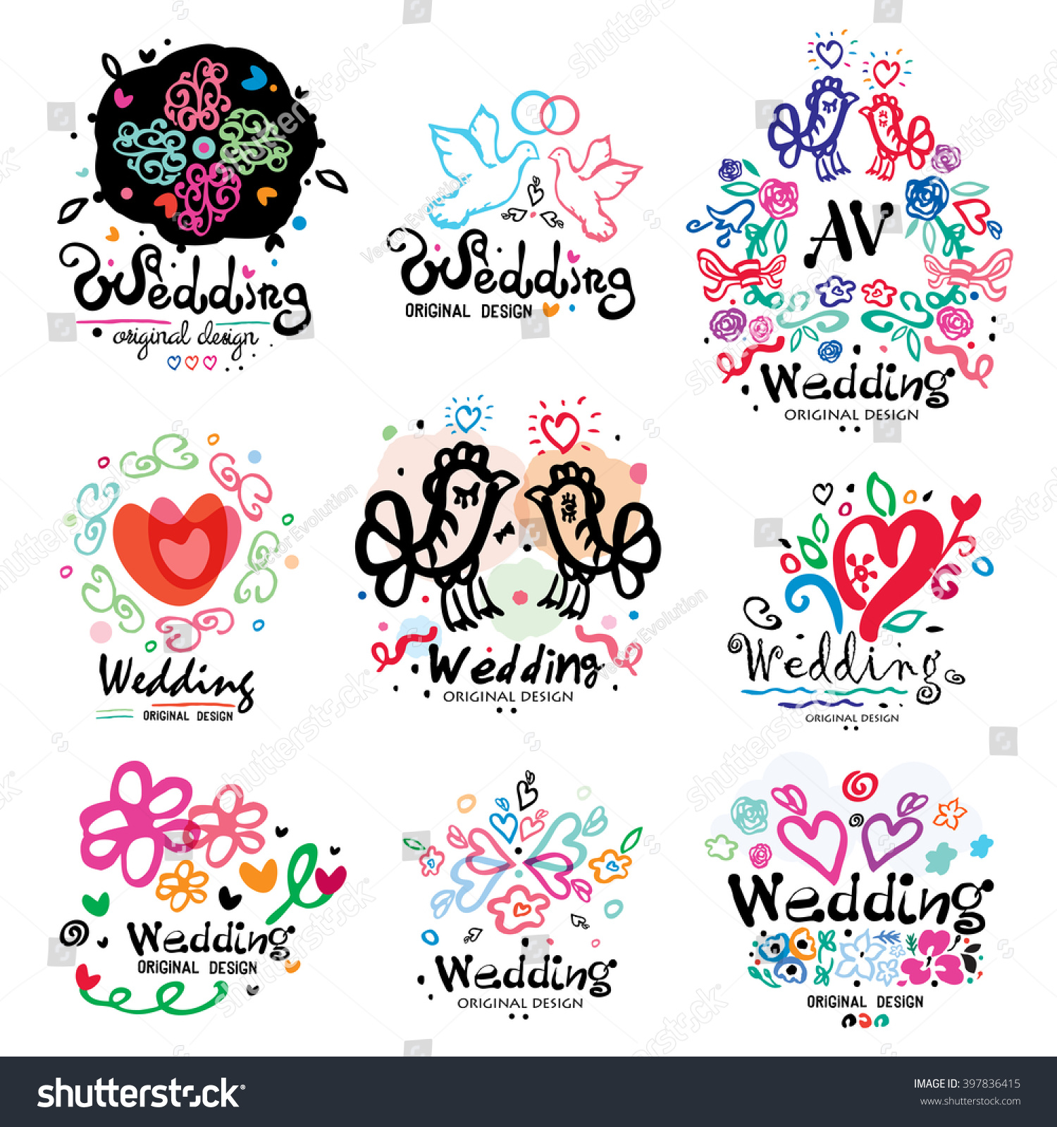 Wedding Decoration Logo Handmade Wedding Design Stock Vector