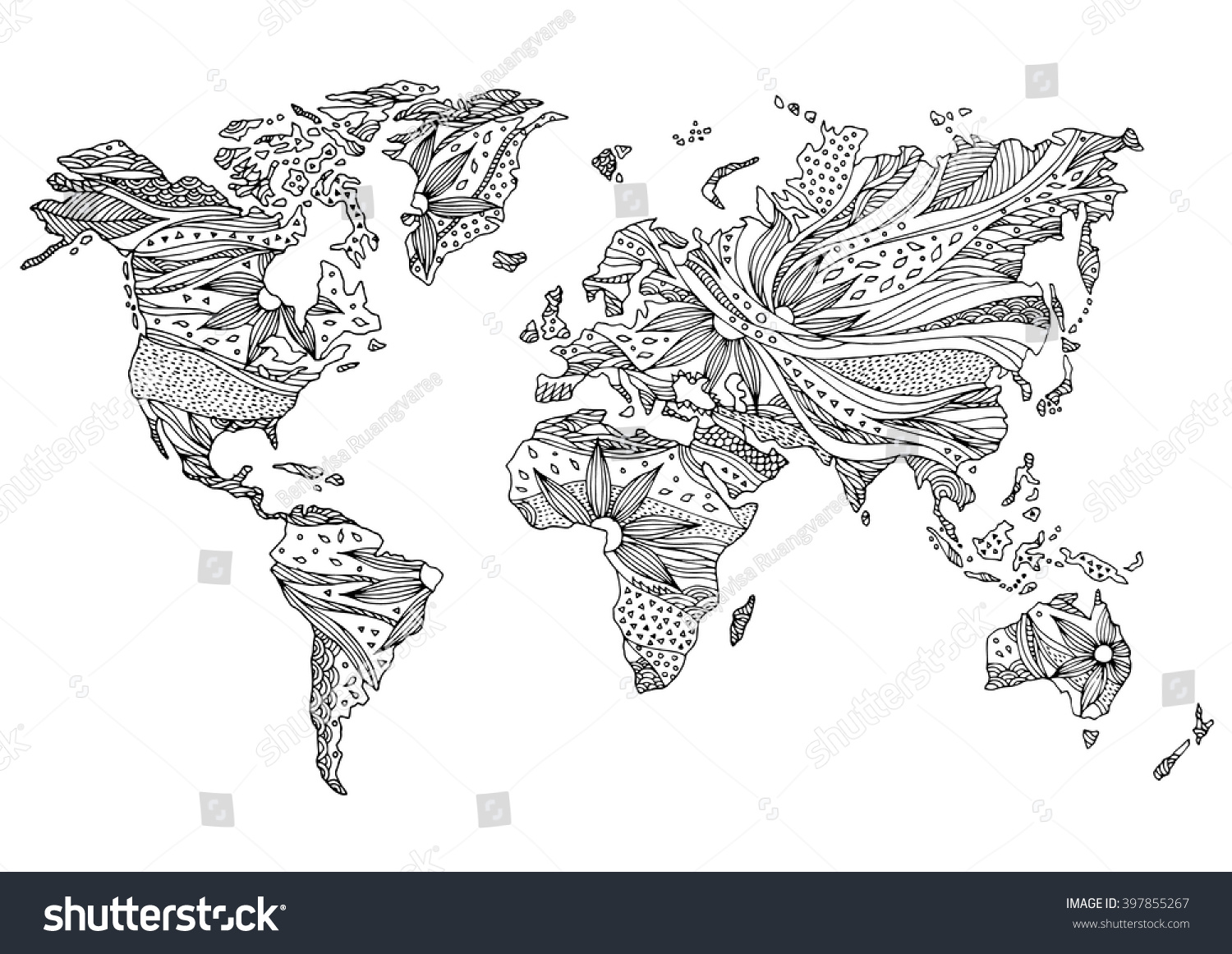 World Map Hand Drawn Flower Floral Stock Vector 397855267