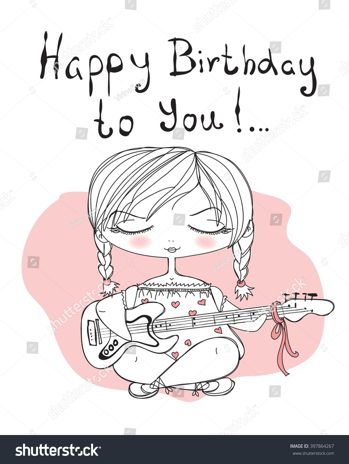Cute Girl Playing Guitar Happy Birthday To You Congratulation Card