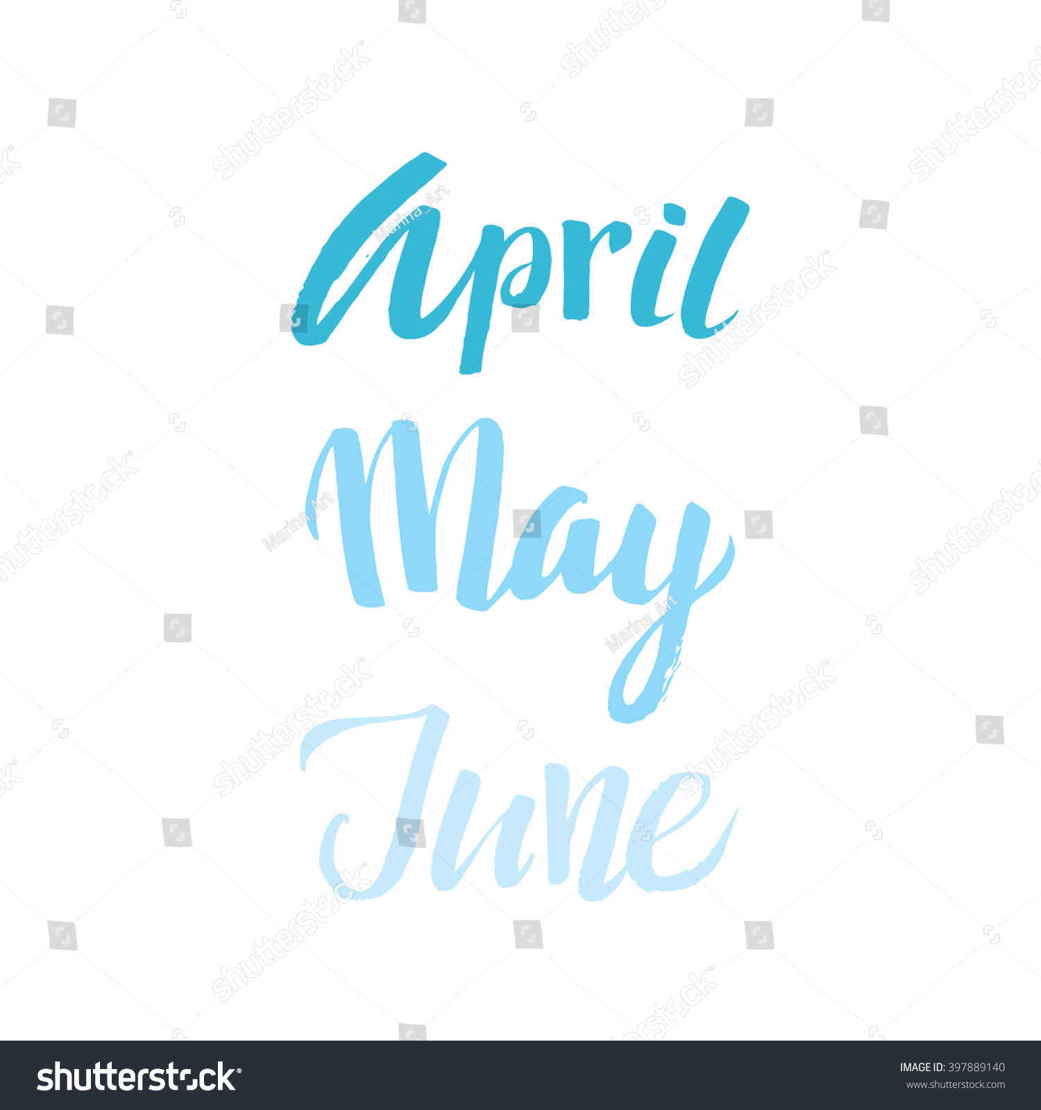 Vector months calligraphy poster april may stock vektor