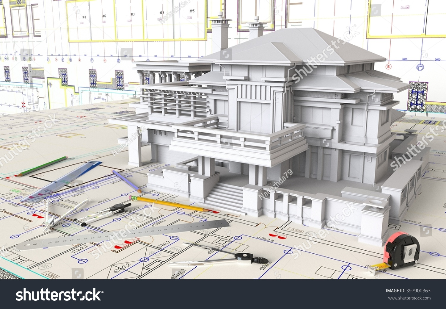 3d rendering house layout architectural drawings stock