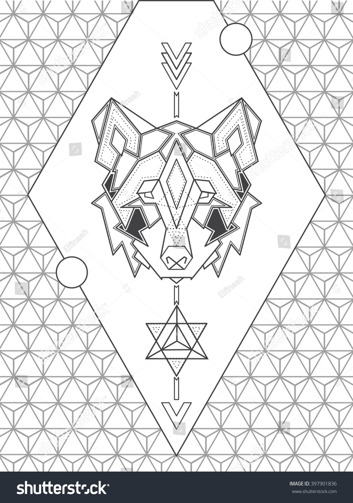 Geometric Abstract Coloring Page Adults Sacred Stock Vector (Royalty ...