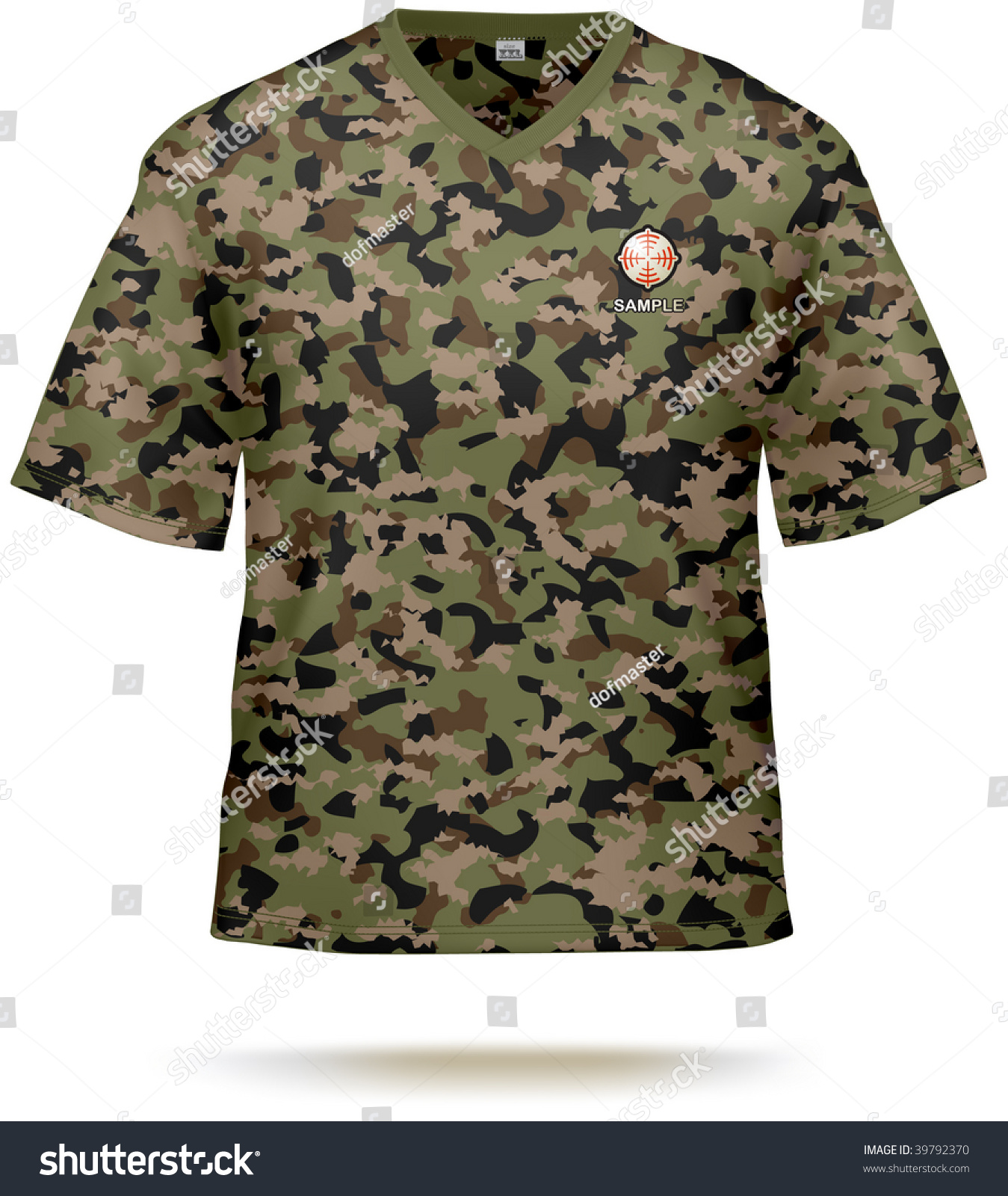 Camouflage t shirt design template with sample print for T shirt sample design