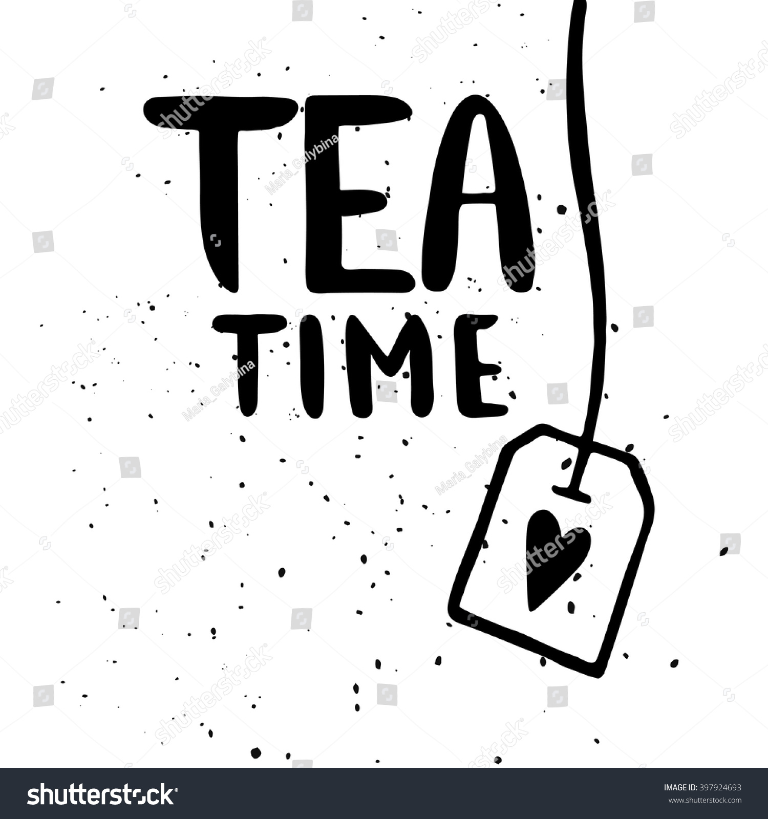 Quote Tea Time Hand Drawn Typography Stock Vector Royalty Free