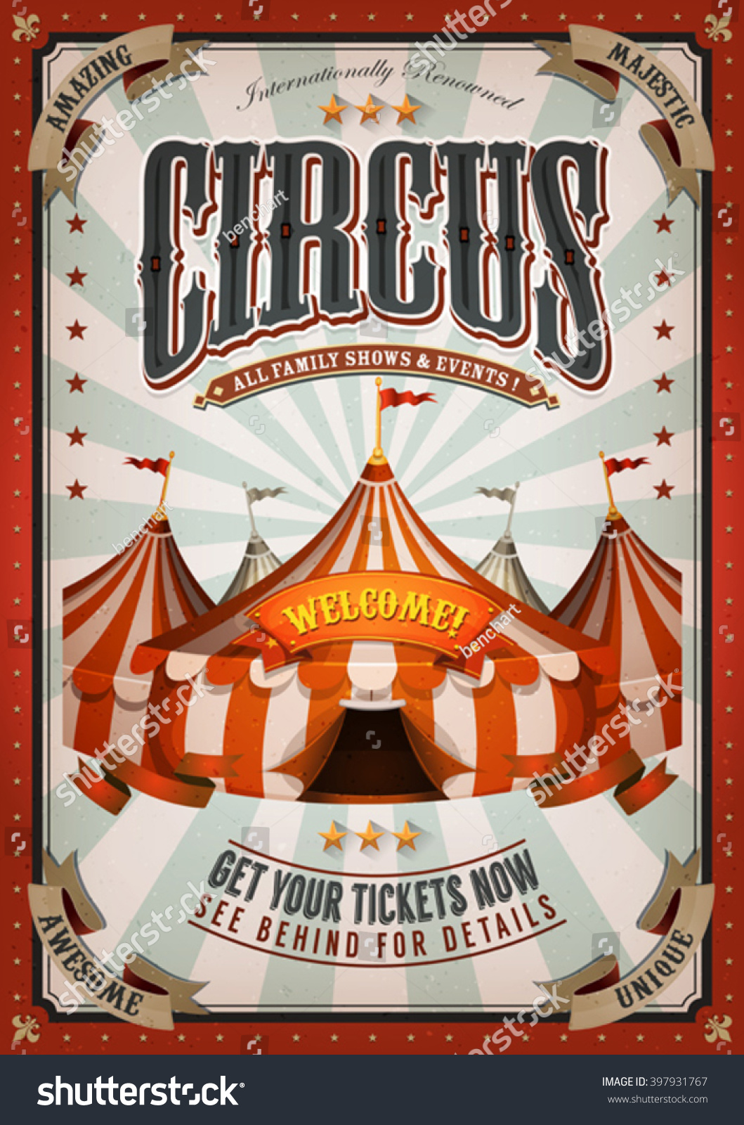 Vintage circus poster big top illustration retro stock for Circus posters free