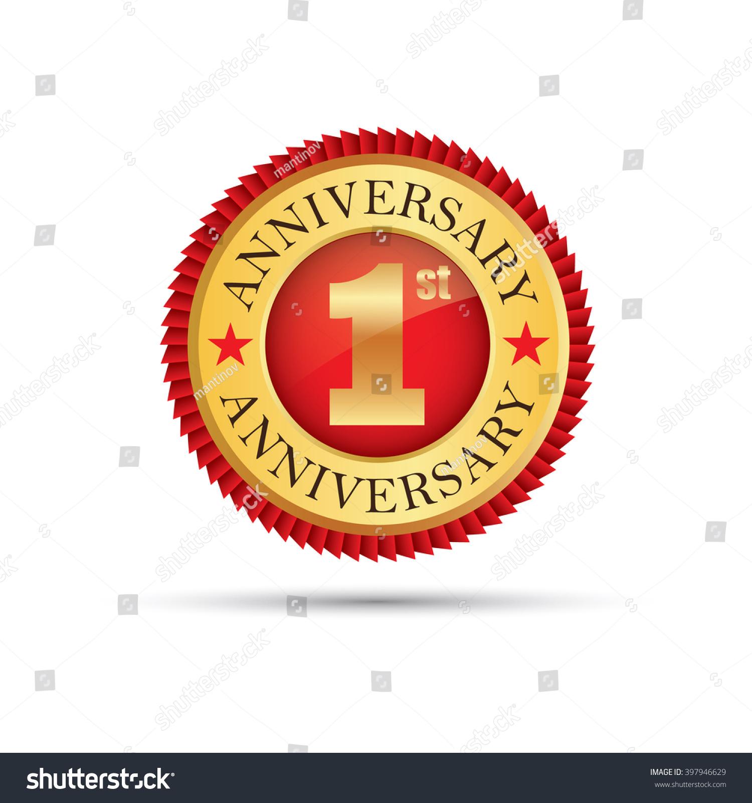 Golden badge years anniversary logo stock vector